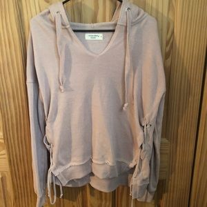 V-Neck Side Lace Up Hoodie